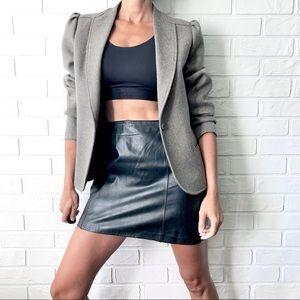 Vintage pure wool grey tweed puff sleeve jacket